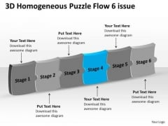3d Homogeneous Puzzle Flow 6 Issue Operation Chart PowerPoint Templates