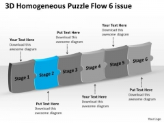 3d Homogeneous Puzzle Flow 6 Issue Ppt Office Charts PowerPoint Templates