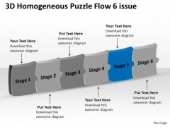 3d Homogeneous Puzzle Flow 6 Issue Ppt Operation Chart PowerPoint Templates