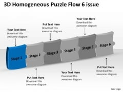 3d Homogeneous Puzzle Flow 6 Issue System Charts PowerPoint Templates