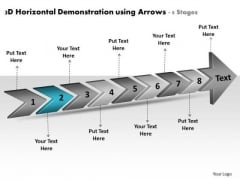 3d Horizontal Demonstration Using Arrows 8 Stages Business Plan Flow Chart PowerPoint Slides