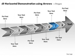 3d Horizontal Demonstration Using Arrows 8 Stages Manufacturing Process Flow Chart PowerPoint Slides