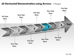 3d Horizontal Demonstration Using Arrows 8 Stages Planning Flow Chart PowerPoint Templates