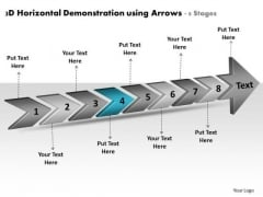 3d Horizontal Demonstration Using Arrows 8 Stages Slides Flow Charts PowerPoint