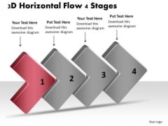 3d Horizontal Flow 4 Stages Chart Creator Free PowerPoint Templates