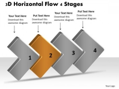 3d Horizontal Flow 4 Stages Ppt Chart Creator Free PowerPoint Templates