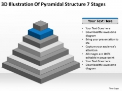 3d Illustration Of Pyramidial Structure 7 Stages Sales Business Plan PowerPoint Templates