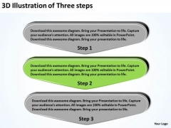 3d Illustration Of Three Steps Basic Business Plans PowerPoint Slides