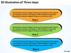 3d Illustration Of Three Steps Planning Flow Chart PowerPoint Templates