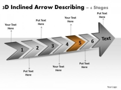 3d Inclined Arrow Describing 6 Stages Basic Process Flow Chart PowerPoint Templates