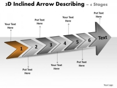 3d Inclined Arrow Describing 6 Stages Diagram Of Business Plan PowerPoint Templates