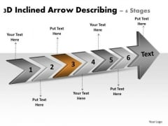 3d Inclined Arrow Describing 6 Stages Ppt Electrical Design PowerPoint Templates
