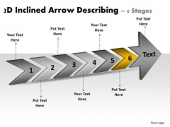 3d Inclined Arrow Describing 6 Stages Ppt Workflow Management Slides PowerPoint Templates