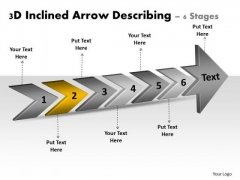 3d Inclined Arrow Describing 6 Stages Vision Office Stencils PowerPoint Slides