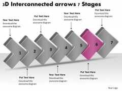 3d Interconnected Arrows 7 Stages Ppt How To Create Flow Chart PowerPoint Slides