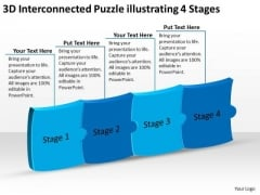 3d Interconnected Puzzle Illustrating 4 Stages Flowchart Programs PowerPoint Templates