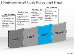 3d Interconnected Puzzle Illustrating 4 Stages Ppt Process Flow Chart Examples PowerPoint Templates