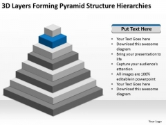 3d Layers Forming Pyramid Structure Hierarchies Business Plan Templet PowerPoint Templates
