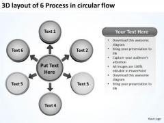 3d Layout Of 6 Process In Circular Flow Venn PowerPoint Slides