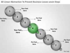 3d Linear Abstraction To Prevent Business Losses Seven Steps Flow Chart Maker Free PowerPoint Slides