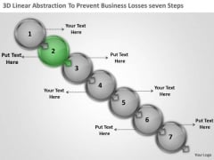 3d Linear Abstraction To Prevent Business Losses Seven Steps Flowcharting PowerPoint Templates
