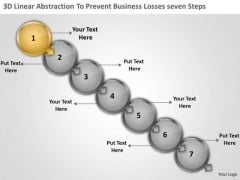 3d Linear Abstraction To Prevent Business Losses Seven Steps Freeware Flowchart PowerPoint Templates