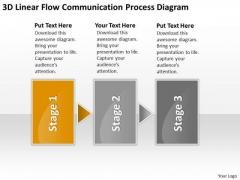 3d Linear Flow Communication Process Diagram Boutique Business Plan PowerPoint Templates
