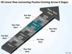 3d Linear Flow Connecting Puzzles Forming Arrow 6 Stages Busniess Plan PowerPoint Slides
