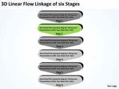 3d Linear Flow Linkage Of Six Stages Business Plan Contents PowerPoint Slides