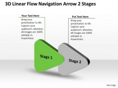 3d Linear Flow Navigation Arrow 2 Stages Ppt Customer Tech Support PowerPoint Slides