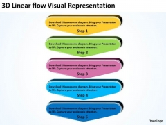 3d Linear Flow Visual Representation Business Tech Support PowerPoint Slides
