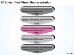 3d Linear Flow Visual Representation Ppt Free Business Plan Writer PowerPoint Templates