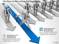 3d Man On Blue Arrow For Leadership