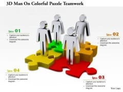 3d Man On Colorful Puzzle Teamwork