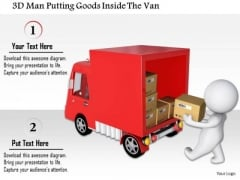 3d Man Putting Goods Inside The Van