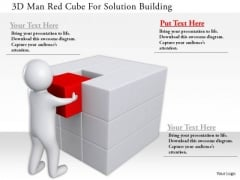 3d Man Red Cube For Solution Building