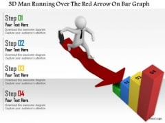 3d Man Running Over The Red Arrow On Bar Graph