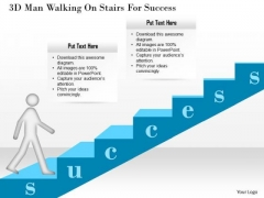 3d Man Walking On Stairs For Success Presentation Template