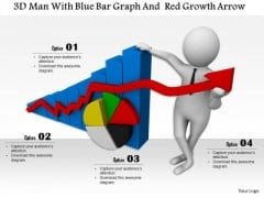 3d Man With Blue Bar Graph And Red Growth Arrow