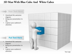 3d Man With Blue Cube And White Cubes