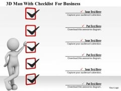 3d Man With Checklist For Business