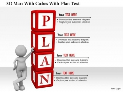 3d Man With Cubes With Plan Text