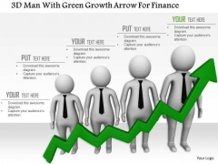 3d Man With Green Growth Arrow For Finance