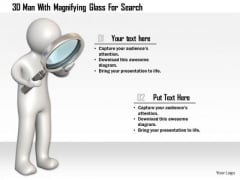 3d Man With Magnifying Glass For Search
