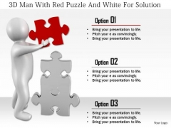 3d Man With Red Puzzle And White For Solution