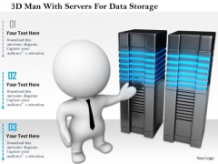 3d Man With Servers For Data Storage