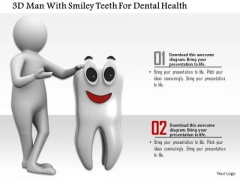 3d Man With Smiley Teeth For Dental Health