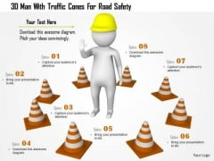 3d Man With Traffic Cones For Raod Safety