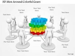 3d Men Around Colorful Gears PowerPoint Templates