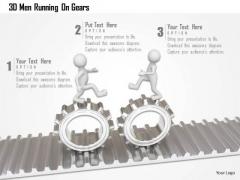 3d Men Running On Gears PowerPoint Templates